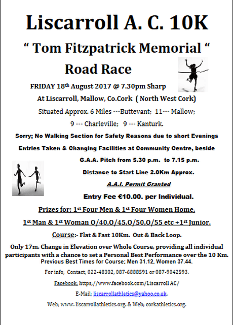 liscarroll ac tom fitzpatrick memorial 10k road race flyer 2017