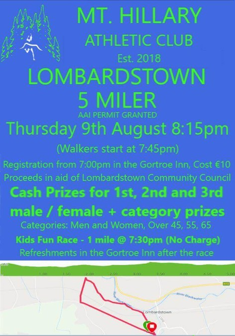 lombardstown 5 mile road race flyer 2018b