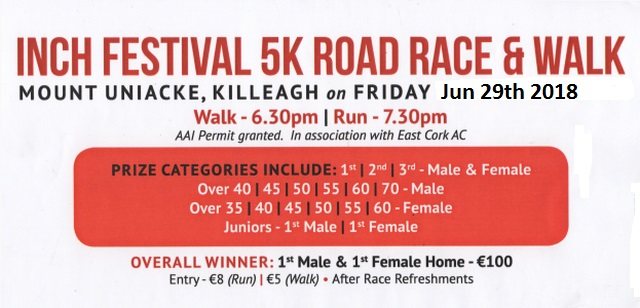 Inch Festival 5k Road Race Flyer 2018
