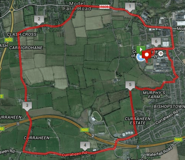 Rebel Run 10k Road Race Course Route Map min