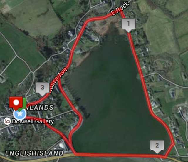 Rosscarbery Steam Engine 5k Course Route Map