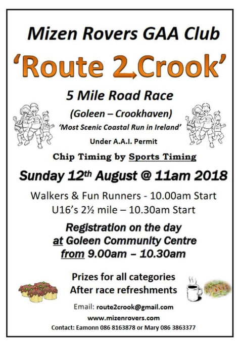 route 2 crook 5 mile road race flyer 2018