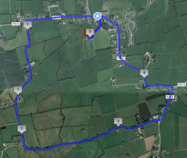 Shandrum AC 5k Road Race Course Route Map