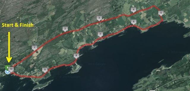 Ahakista 10k Course Route Map