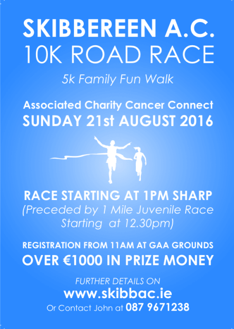 Skibbereen 10k Road Race Flyer 2016 min
