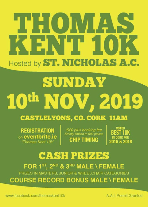 thomas kent 10k road race flyer 2019