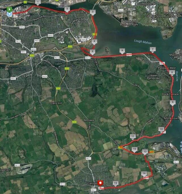 The Great Railway Run 25k Road Race 2017 Route Map
