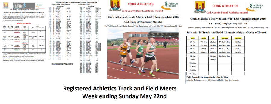 Registered Track & Field Events for week ending May 22nd 2016