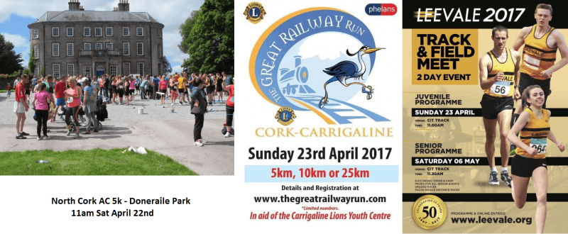 Registered Cork Athletics Events Week Ending April 23rd 2017