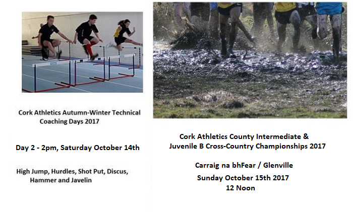 cork athletics registered events week ending sunday october 15th 2017