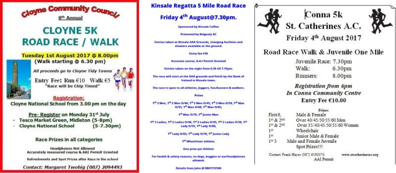 cork athletics registered road races week ending august 6th 2017