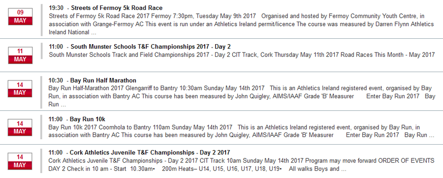 registered cork athletics events week ending may 14th 2017