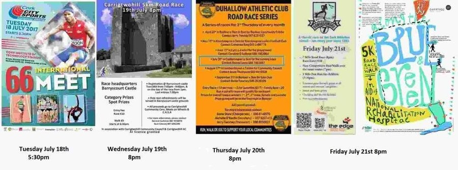 registered cork athletics events week ending sun july 23rd 2017