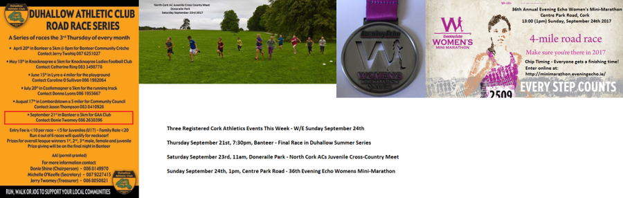 registered cork athletics events week ending sun september 24th 2017