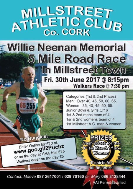 willie neenan memorial 5 mile road race flyer 2017