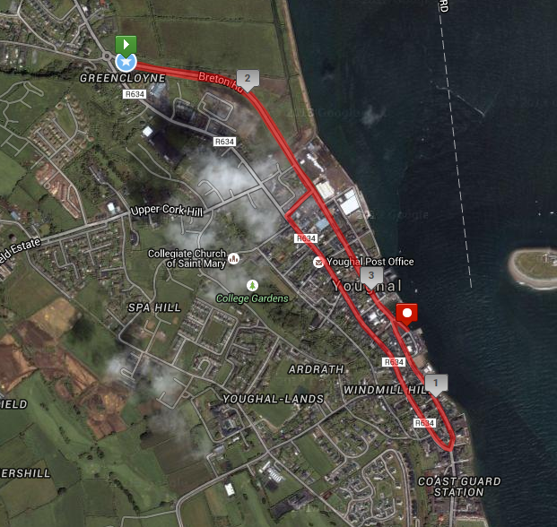 Youghal 5k - Course Route Map
