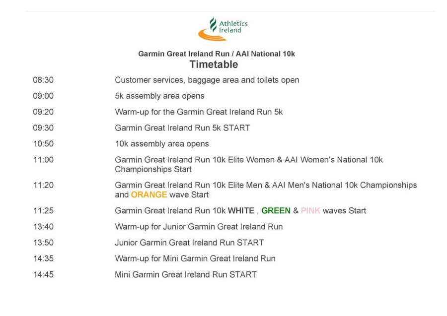 great ireland run schedule 2018