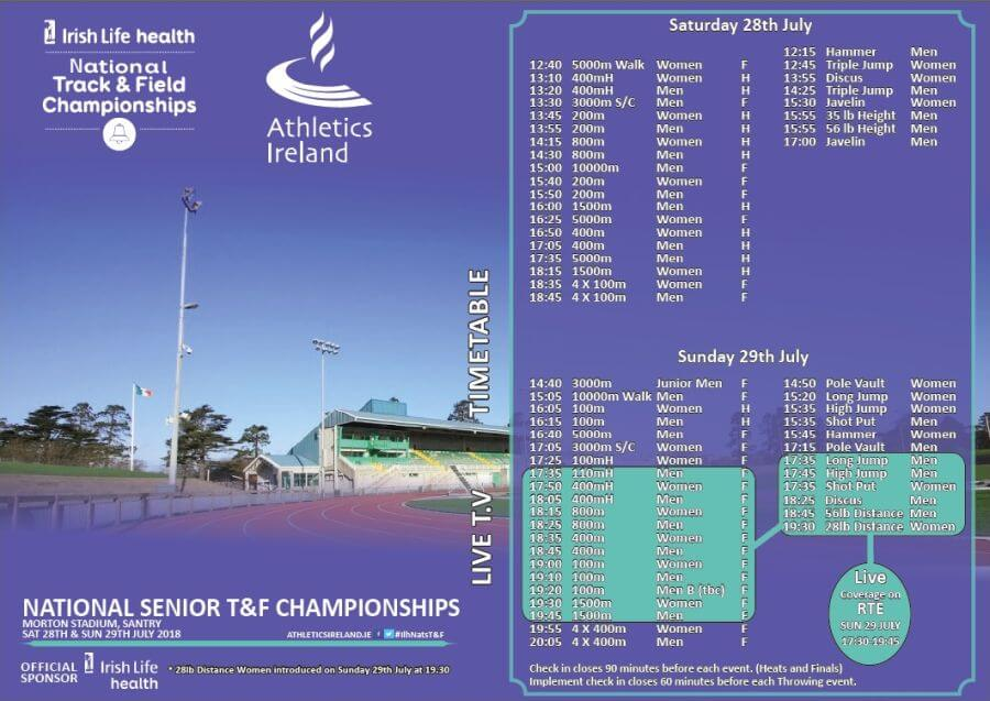 athletics ireland national senior t an f championships programme 2018