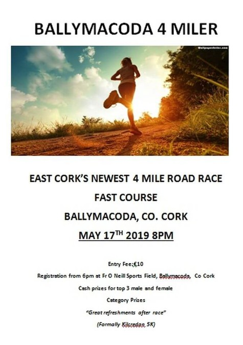 ballymacoda 4 mile road race flyer 2019