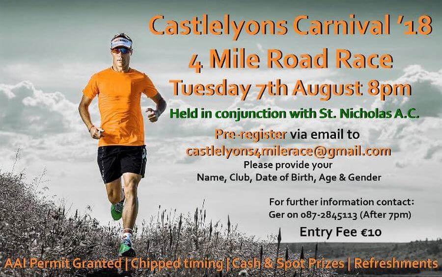 castlelyons carnival 4 mile road race flyer 2018 v4