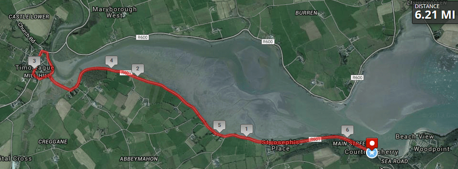 Courtmacsherry 10k Route Map