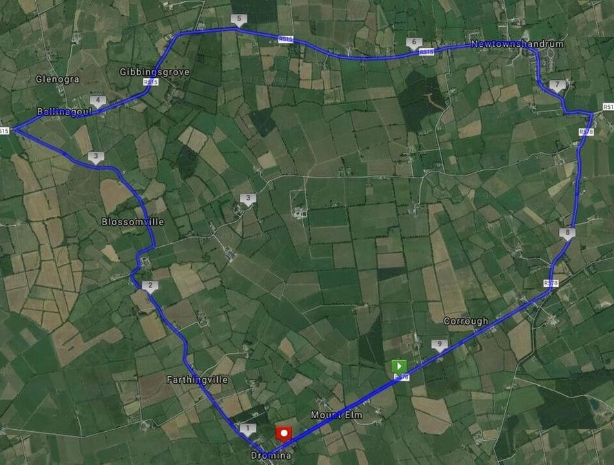 course map dromina 10 mile road race 2019a