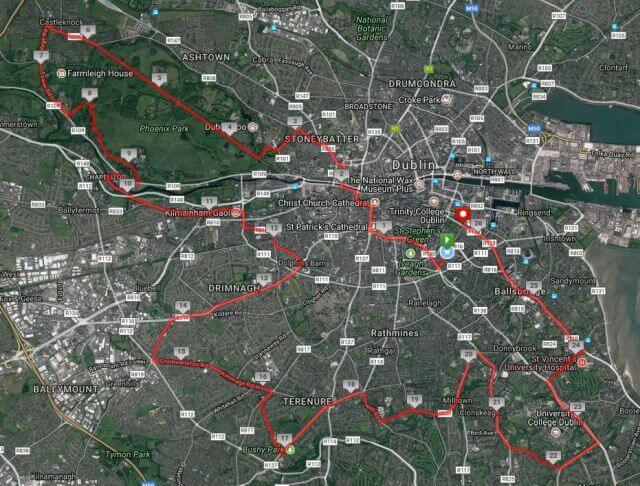 dublin marathon 2017 course route map satellite
