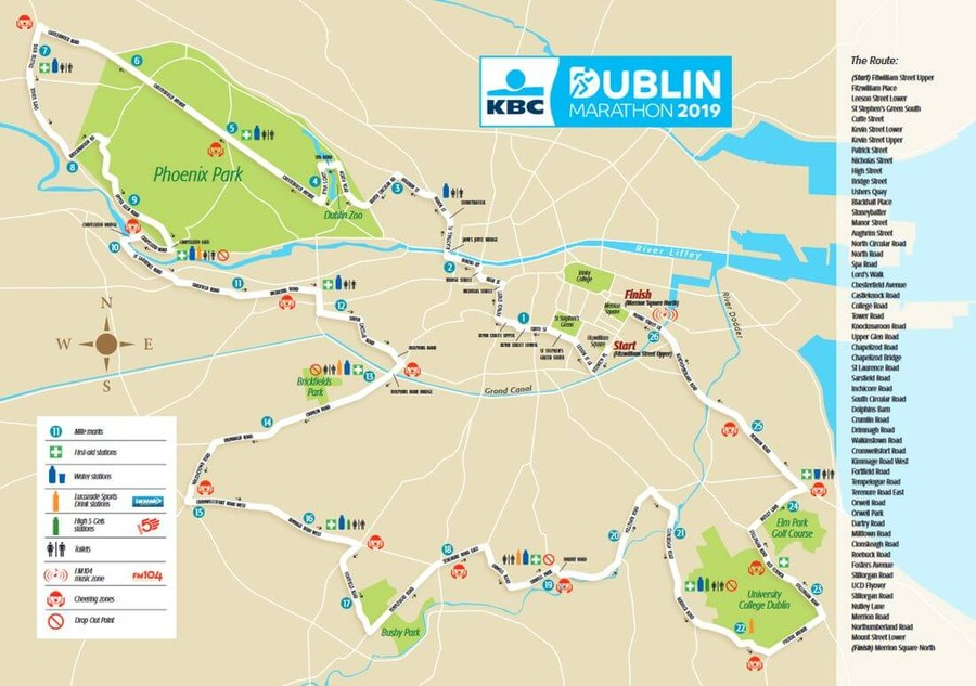 route map kbc dublin marathon 2019