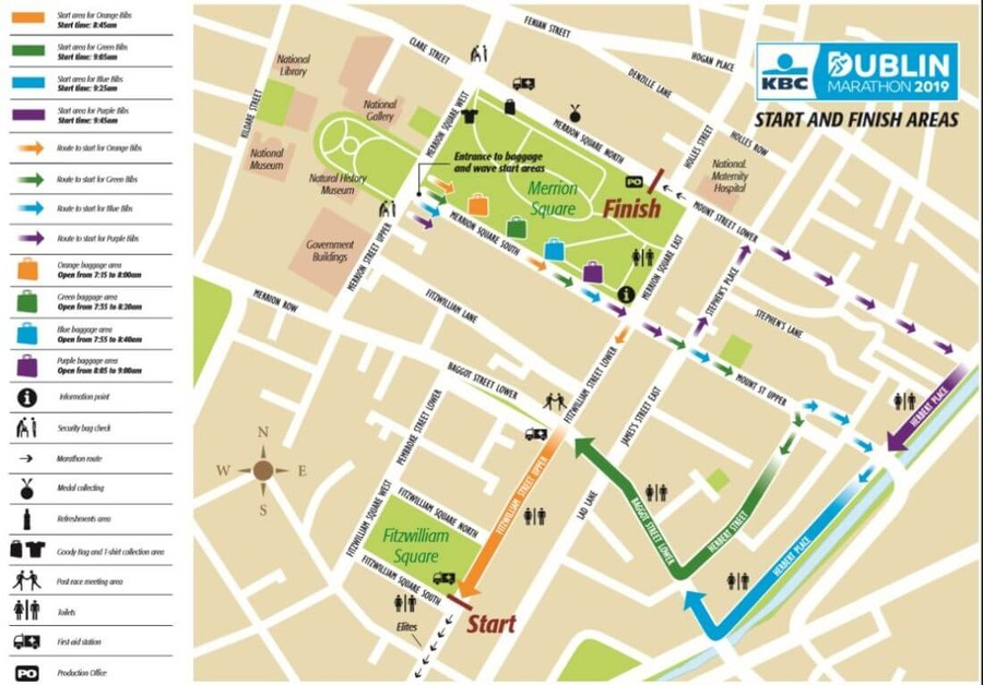 start finish map kbc dublin marathon 2019