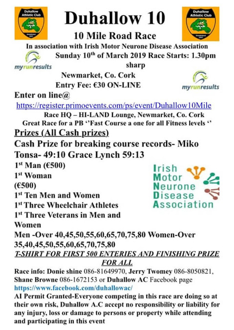 duhallow 10 mile road race flyer 2019