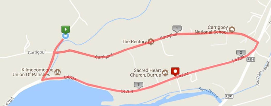 durrus 5k road race course map 2018