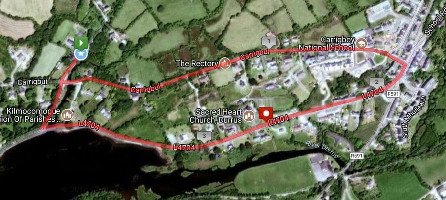durrus 5k road race course map satellite 2018