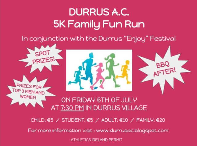 durrus 5k road race flyer 2018