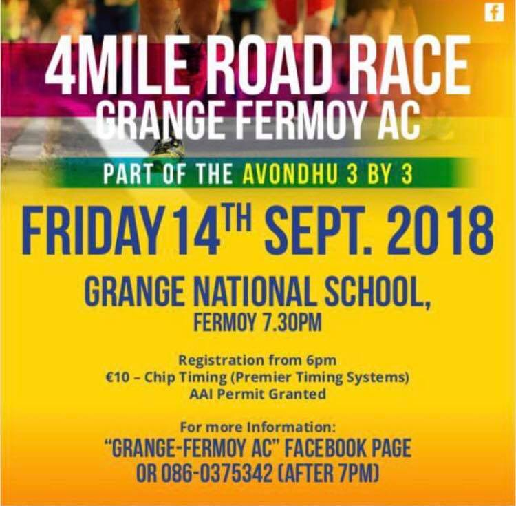 grange fermoy 4 mile road race flyer 2018