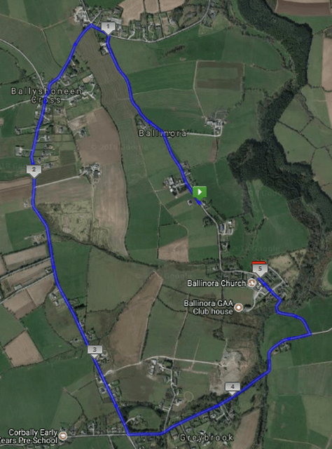 ballinora 5k road race route map