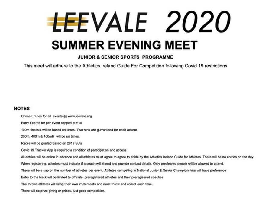 leevale summer evening meet notes 2020