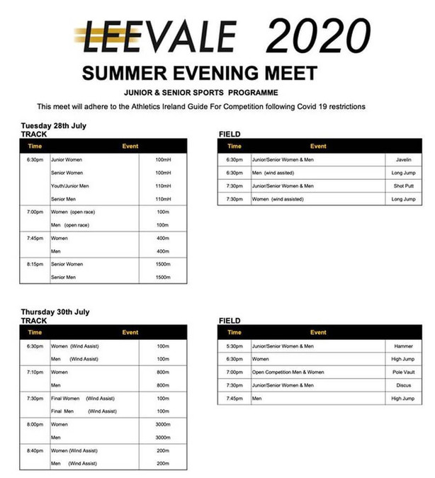 leevale summer evening meet program 2020