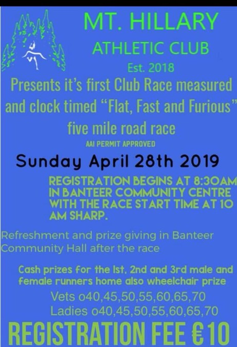 mt hillary ac 5 mile road race flyer 2019