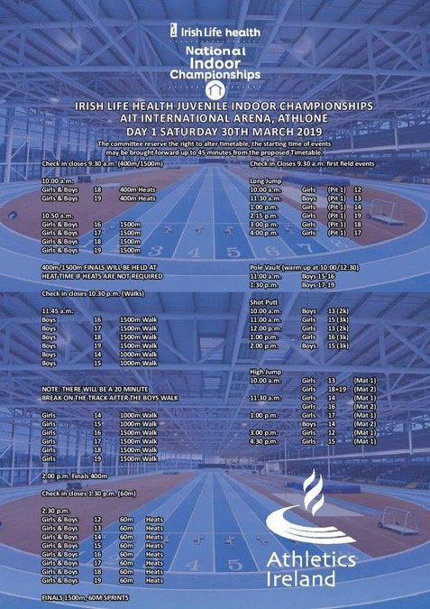 athletics ireland national juvenile indoor chps day 1 2019