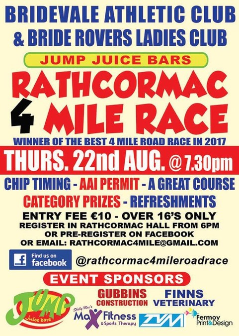 rathcormac 4 mile road race flyer 2019