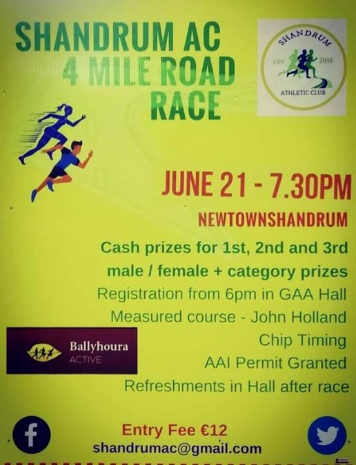 shandrum ac 4 mile road race flyer 2019