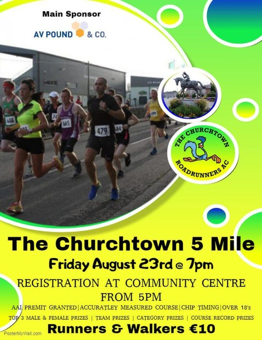 churchtown 5 mile road race flyer 2019