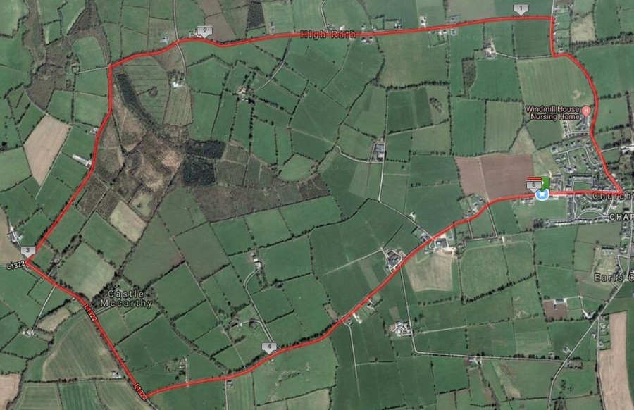 churchtown 5 mile road race route map