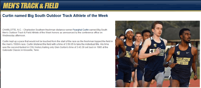 curtin big south track athlete of week march 21 2018
