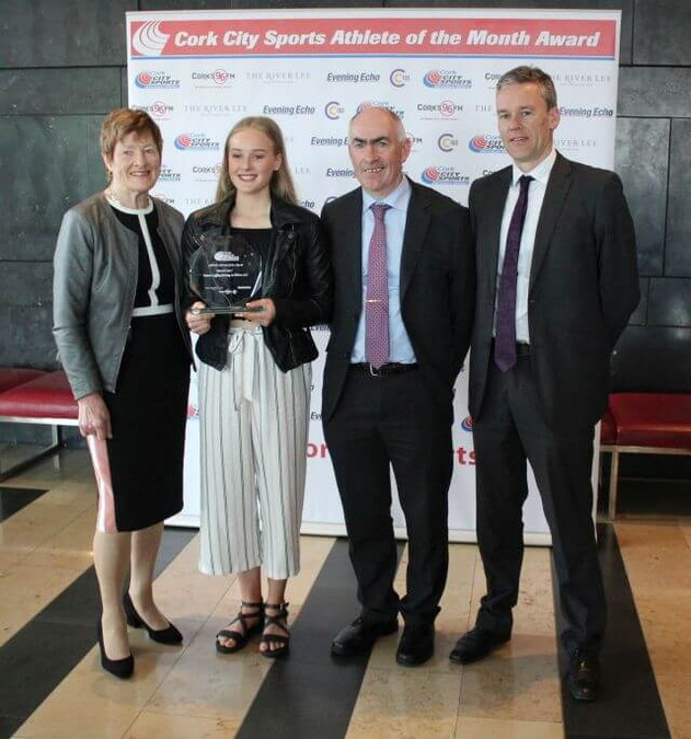 emma coffey cork city sports athlete of the month march 2017 with carraig na bhfear ac