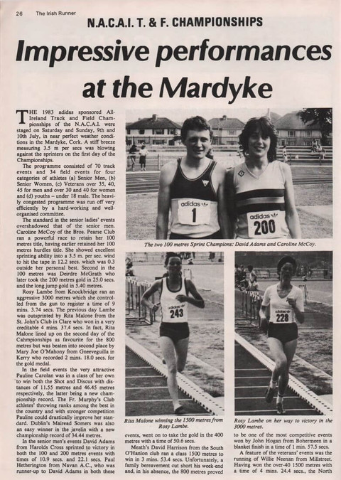 nacai national tandf championships cork 1983 irish runner vol 3 no 5 p26