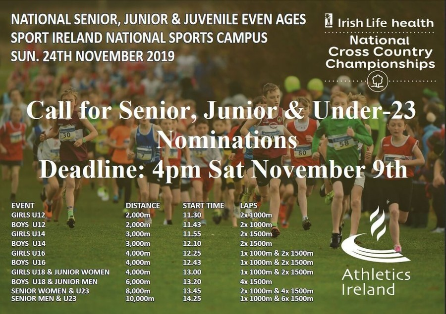 nomination notice athletics ireland national senior junior juvenile xc chps nov 2019