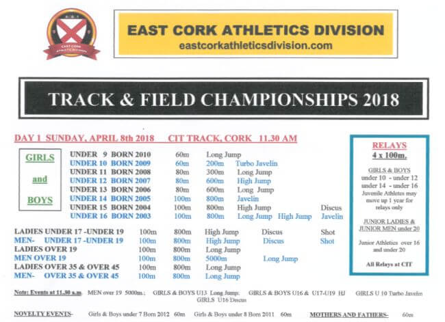 east cork track and field championships day 1 programme 2018